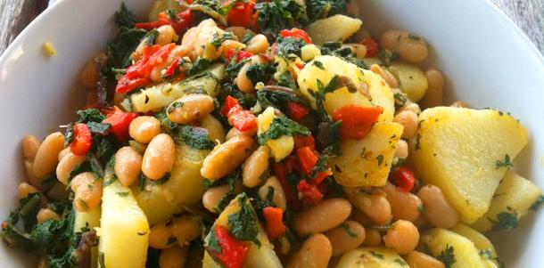 Dandelion Cannelini Potatoes and Roasted Peppers