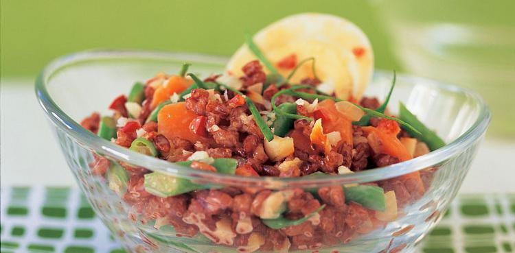 Indonesian Red Rice Salad with Boiled Eggs and Macadamias | Oldways