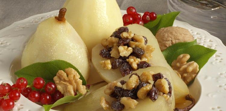 Baked Walnut Stuffed Pears
