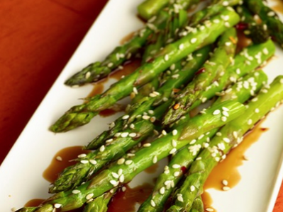 Toasted Sesame Balsamic Asparagus