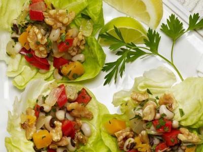 Black-eyed Peas and Walnut Lettuce Wraps