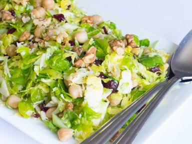 Brussels Sprouts and Chickpea Salad with Cranberries and Walnuts