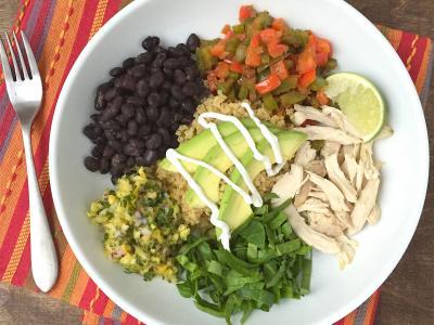 Burrito bowls with chicken