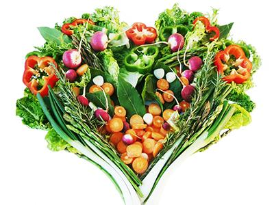 Vegetables arranged in a heart