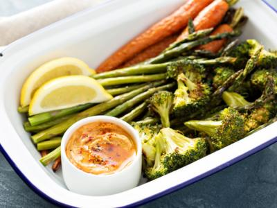 Roasted Vegetables with Hummus