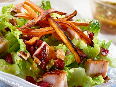Turkey Salad with Sweet Potato Fries