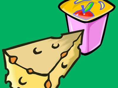 Yogurt and cheese illustration